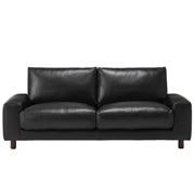 沙发主体 / 皮面宽扶手 / 2.5人座 / 羽绒羽毛 / 独立式樽行弹簧坐垫 / 长190×宽88.5×高79.5cm