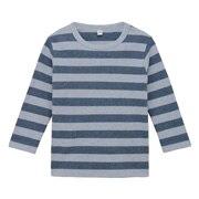 棉双面起毛双罗纹 条纹长袖T恤