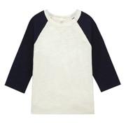 日常儿童 棉 竹节拼接色八分袖T恤