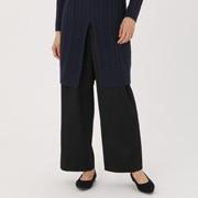 羊毛混缎纹 宽版裤