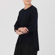 羊毛桑蚕丝 圆领七分袖宽版毛衣