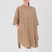棉水洗 条纹七分袖束腰长上衣
