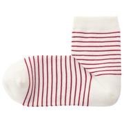 棉混合脚直角袜口无橡筋条纹短袜