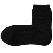 女式 棉混合脚直角凹凸提花短袜