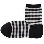 合脚直角格纹短袜