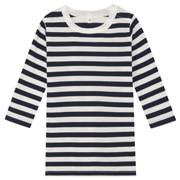 日常儿童 棉条纹长袖束腰长上衣