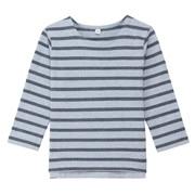 柔软粗棉线条纹长袖T恤