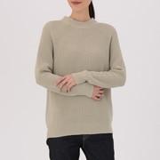 棉棱纹编织高圆领毛衣