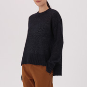 女式 羊驼毛混纺纱织高圆领毛衣