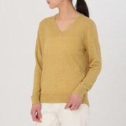 女式 法国亚麻V领毛衣