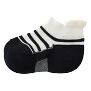 合脚直角弹力运动船袜带提耳条纹图案袜