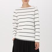 女式 粗棉线条纹长袖T恤