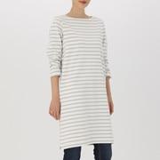 女式 粗棉线条纹长袖连衣裙
