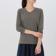 女式 棉V领长袖T恤