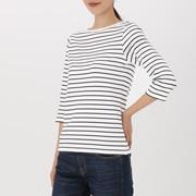 女式 棉弹力一字领七分袖T恤