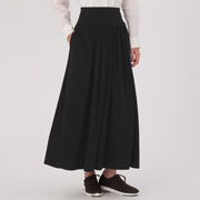 ONE SIZE 棉混弹力抽褶长裙