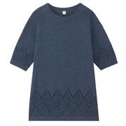 棉镂空花纹束腰长上衣