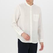 男式 法国亚麻水洗 立领衬衫