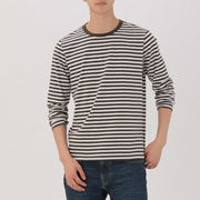 男式 棉 条纹圆领长袖T恤