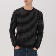 男式 粗细不均棉线 条纹长袖T恤