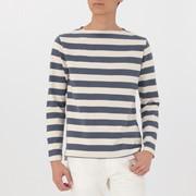 男式 粗棉线 条纹长袖T恤