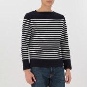 男式 粗棉线 装饰条纹长袖T恤