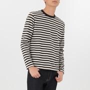 男式 粗棉线条纹 圆领长袖T恤