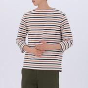 男式 棉七分袖 条纹一字领T恤