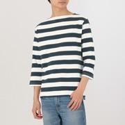 男式 棉七分袖 粗条纹一字领T恤