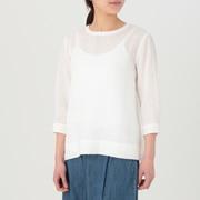 女式 法国亚麻水洗七分袖罩衫