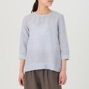 女式 法国亚麻水洗条纹七分袖罩衫