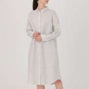 女式 法国亚麻水洗条纹衬衫连衣裙