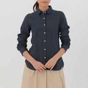 女式 棉双层纱织窗格纹衬衫