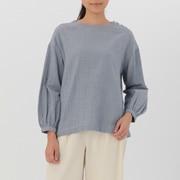 女式 棉双层纱织条纹罩衫