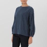 棉双层纱织窗格纹罩衫