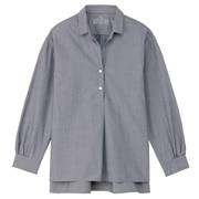 女式 棉水洗条纹束腰长上衣
