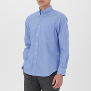 男式 棉条纹 定型纽扣领衬衫