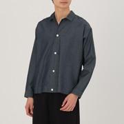 男式 日本面料靛蓝染色长袖衬衫