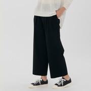 女式 棉横竖弹力轻便丝光斜纹宽版裤