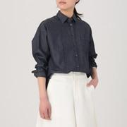 女式 日本面料靛蓝染色衬衫