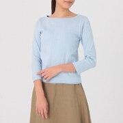 女式 棉混宽罗纹圆领七分袖T恤