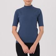 女式 棉混宽罗纹高领五分袖T恤