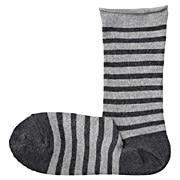 袜口卷边条纹袜