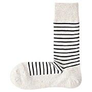 合脚直角条纹图案袜