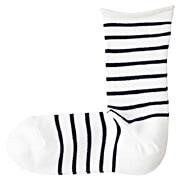 合脚直角袜口卷边条纹袜